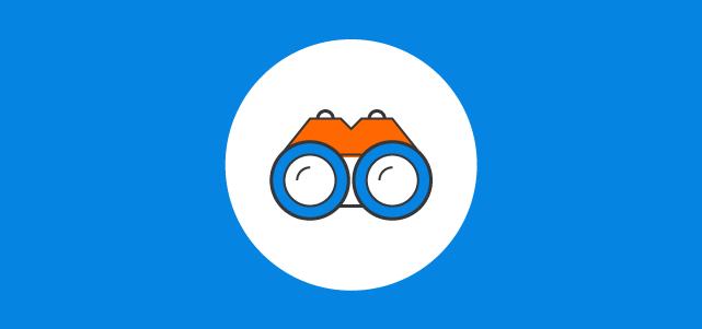 blue banner binocular icon